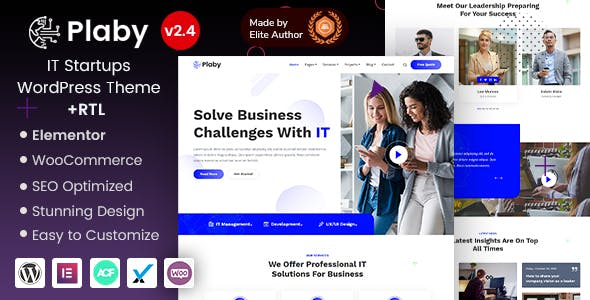Plaby - Elementor IT Startup WordPress Theme