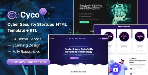 Cyco - Cyber Security Startups HTML Template - Technology Site Templates
