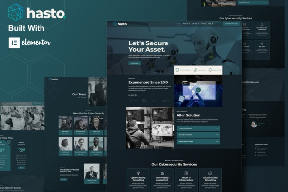 Hasto - Cyber Tech Security Service Elementor Template Kit - Business & Services Elementor