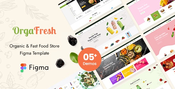 OrgaFresh | Organic & Fast Food Store Figma Template - Food Retail
