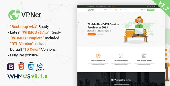VPNet - Multipurpose VPN and Cloud Service Template with WHMCS - Technology Site Templates