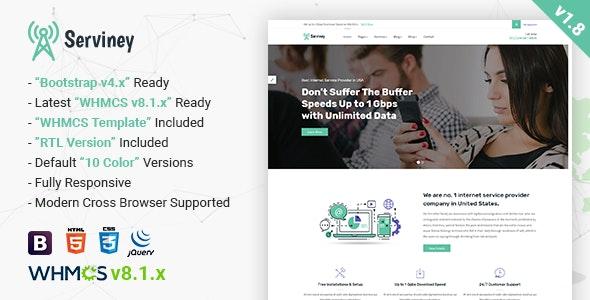 Serviney - Multipurpose Internet Service Provider Template - Technology Site Templates