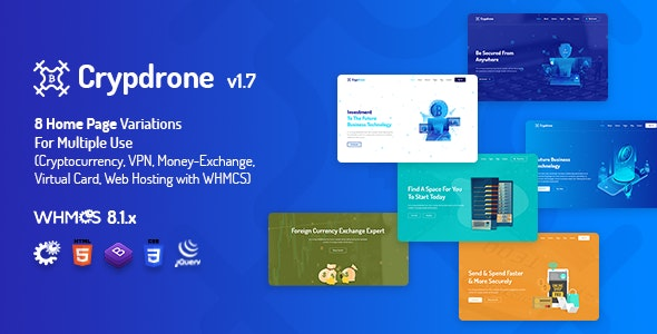 Crypdrone - ICO Crypto Landing & Cryptocurrency Website with whmcs Template - Technology Site Templates