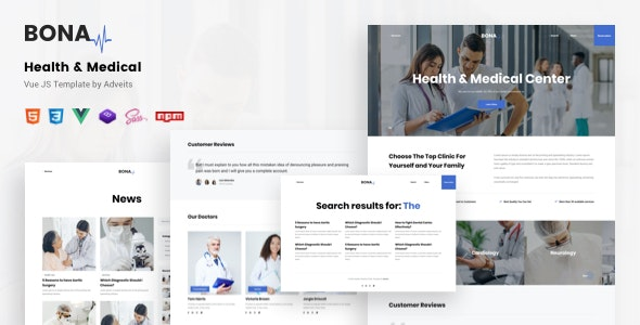 Bona - Health & Medical Vue JS Template - Health & Beauty Retail