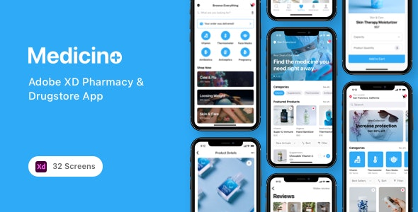 Medicino - Adobe XD Pharmacy & Drugstore App - Health & Beauty Retail