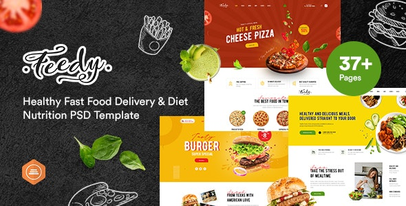 Feedy - Healthy Fast Food Delivery & Diet Nutrition PSD template - Health & Beauty Retail