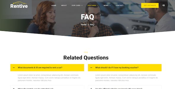Rentive – Car Rental & Auto Dealer Elementor Template Kit