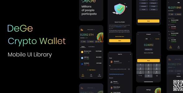 DeGe Mobile Crypto Wallet - Figma UI Templates