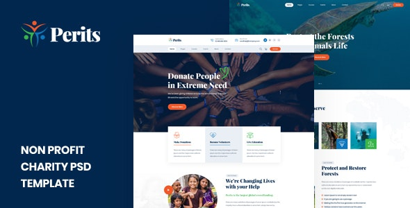 Perits - Non Profit Charity PSD Template - Nonprofit Photoshop