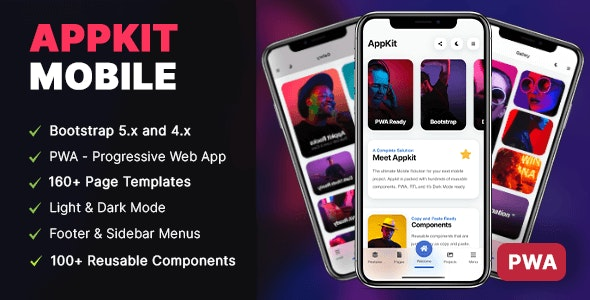 Appkit is the most complete Mobile kit on Envato
