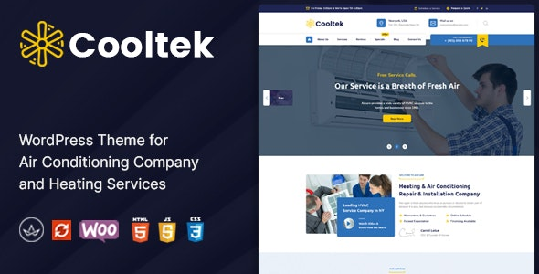 CoolTek - Air Conditioning Services WordPress Theme - Business Corporate