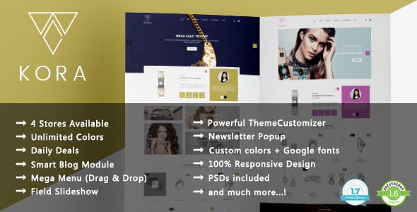 Kora - Jewelry and Diamond Handcrafted PrestaShop 1.7 & 1.6 Theme
