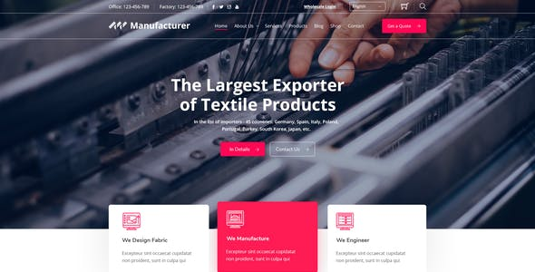 Manufacturer - Factory and Industrial WordPress Theme