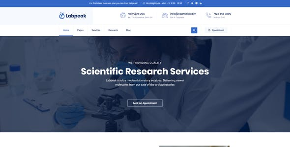 Labpeak | Laboratory & Science Research WordPress Theme