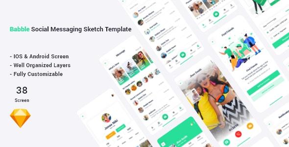 Bubble - Social Messaging Sketch Template - Sketch UI Templates