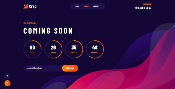 Crad - Coming Soon PSD Template
