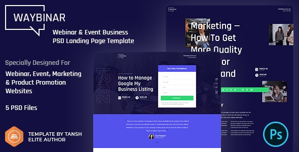 Waybinar - Webinar & Event Business PSD Landing Page Template - Marketing Corporate