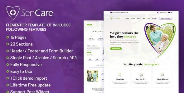 SenCare - Elderly Care Elementor Template Kit