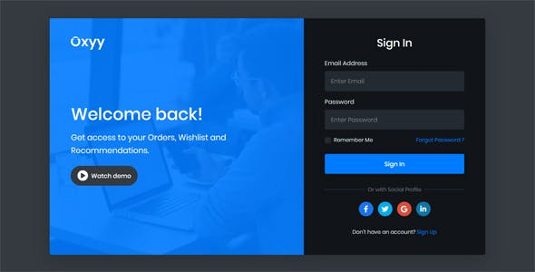 Oxyy - Login and Register Form HTML Templates