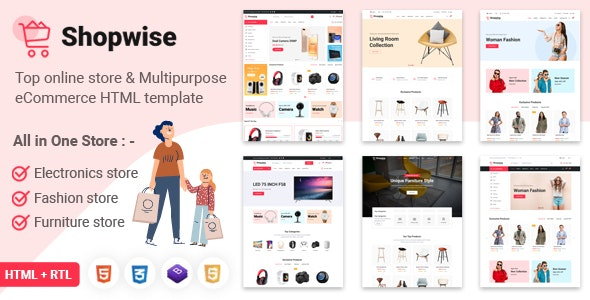 Shopwise - eCommerce Bootstrap 4 Multipurpose HTML Template - Shopping Retail