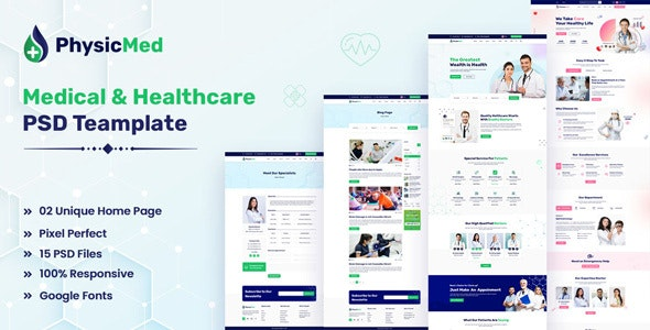 Physicmed - Medical & healthcare PSD Template - Health & Beauty Retail