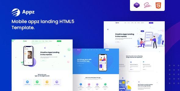 Appz - Mobile App landing HTML5 Template - Software Technology