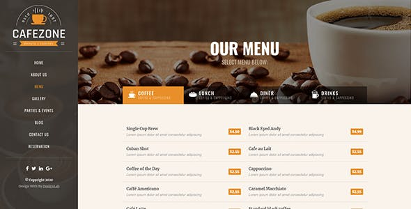 CafeZone: Coffee Shop Restaurant HTML Restaurant Template
