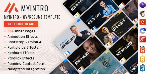 MyIntro | Resume CV Portfolio Bootstrap 4 Template - Portfolio Creative