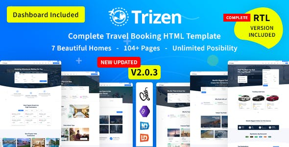 Trizen - Travel Hotel Booking HTML5 Template with Dashboard