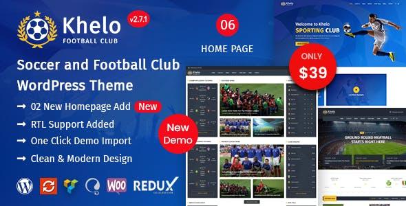 Khelo - Soccer & Sports WordPress Theme