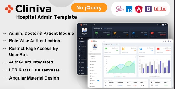Cliniva Hospital - Angular 11+ Medical Admin Dashboard Template For Doctors & Clinics - Admin Templates Site Templates