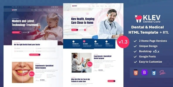 Klev - Dental & Medical Bootstrap 5 Template - Health & Beauty Retail