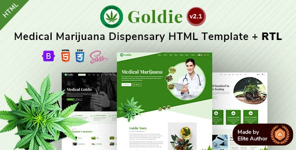 Goldie - Medical Marijuana Dispensary Bootstrap 5 Template