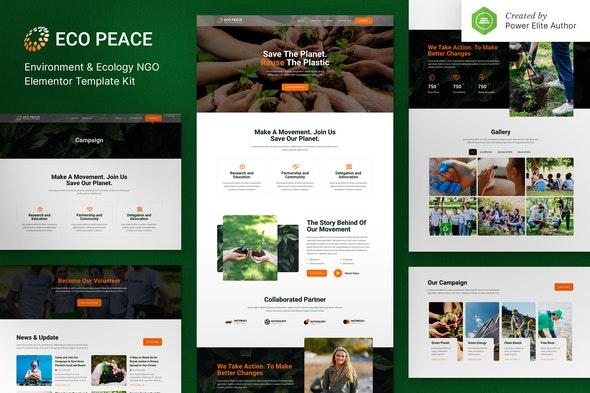 EcoPeace – Environment & Ecology NGO Elementor Template Kit - Non-Profit & Religion Elementor