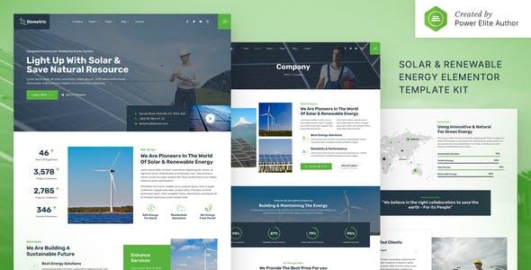 Dometric – Solar & Renewable Energy Elementor Template Kit