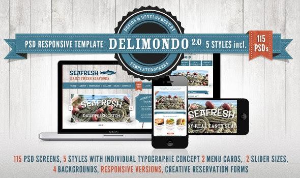 Delimondo Responsive PSD Restaurant Template - Restaurants & Cafes Entertainment
