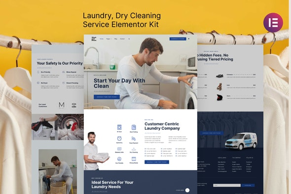 Wash & Rinse – Laundry & Dry Cleaning Service Elementor Template Kit - Business & Services Elementor