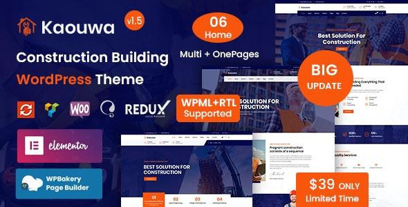 Kaouwa - Construction Building WordPress Theme - Business Corporate