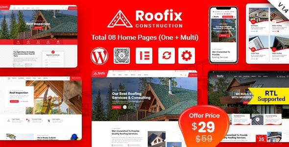 Roofix v1.4.2 – Roofing Services WordPress Theme