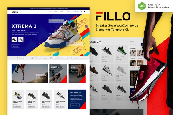 Fillo – Shoes & Sneakers Store WooCommerce Elementor Template Kit - Shopping & eCommerce Elementor
