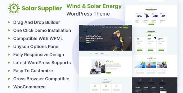 Solar Supplier - Wind & Solar Energy WordPress Theme
