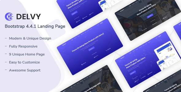 Delvy - Responsive Landing Page Template - Landing Pages Marketing