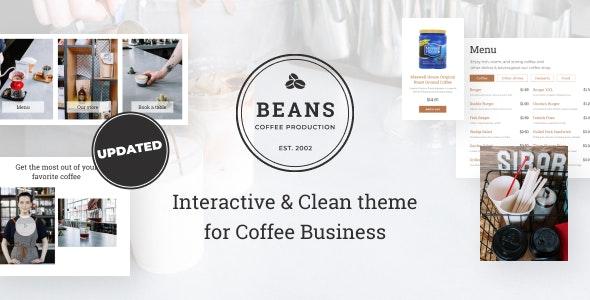 Beans - Coffee Shop Website Template - Restaurants & Cafes Entertainment