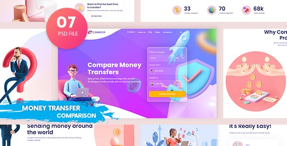 Comofer - Money Transfer Comparison PSD Template - Business Corporate