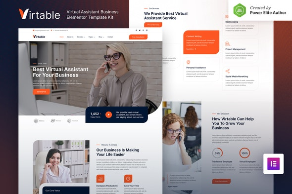 Virtable – Virtual Assistant Business Elementor Template Kit - Business & Services Elementor