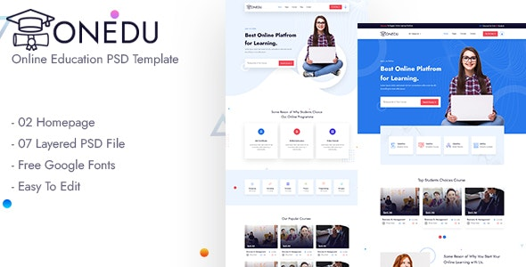 Onedu Online Education PSD Template - Corporate Photoshop