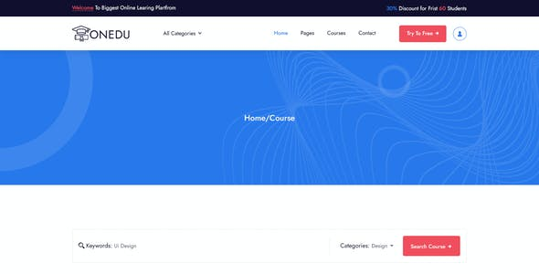 Onedu Online Education PSD Template
