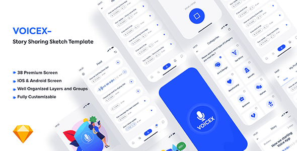 Voicex – Story Sharing Sketch Template - Sketch UI Templates