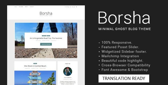 Borsha - Responsive Minimal Ghost Theme