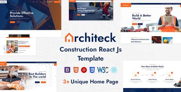 Architeck - Construction React Js Template - Corporate Site Templates